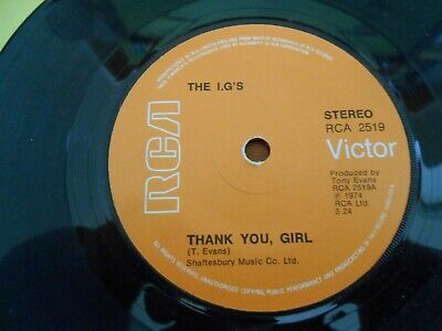 The I.G's - Thank You Girl / Hang On To Me Baby RCA 7  Single • 10£
