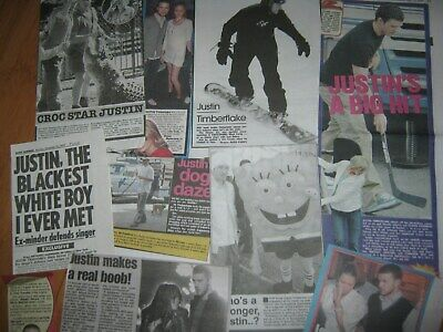 Justin Timberlake Uk Newspaper Cuttings 2003 - 07 Dated Collection 40 Clippings • 12£