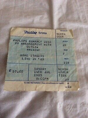 RARE COLLECTABLE DIRE STRAITS LIVE 85 TICKET WEMBLEY 14th JULY 1985 • 25£