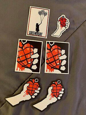 Lot Of (6) GREEN DAY 2  To 3  Band Stickers Red Black FAST FREE Grenade Heart • 3.94£