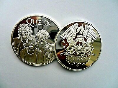 Unusual  Queen Band Freddie Mercury  Silver  Plated Coin . In Capsule • 4.99£