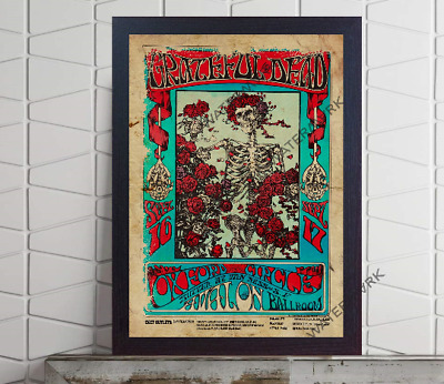 Grateful Dead Concert Poster Retro Vintage Old Photo FRAMED Or UNFRAMED • 17.50£