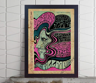Grateful Dead Fillmore Concert Poster Retro Vintage Old Photo FRAMED Or UNFRAMED • 16.99£