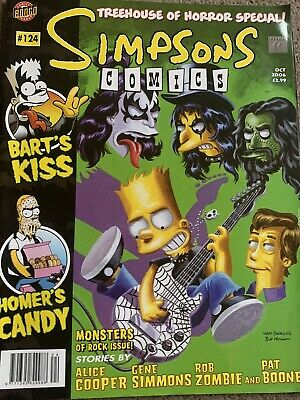 Kiss In The Simpsons Comic Horror Ed. W Gene Simmons, Alice Cooper & Rob Zombie! • 10£