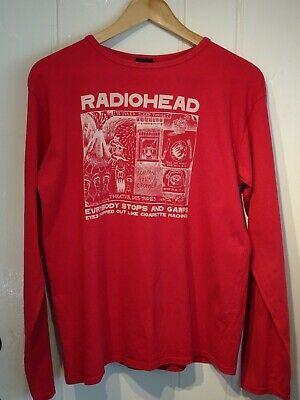 Radiohead W.A.S.T.E 'Gawp' Long Sleeve Red T-Shirt, Size Medium, Great Condition • 75£