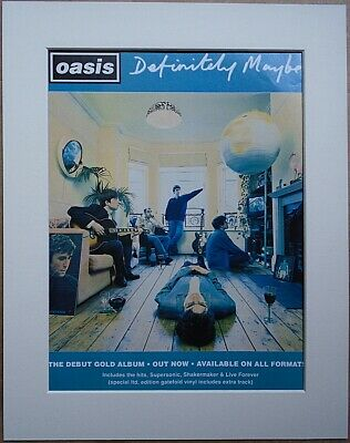 OASIS Definitely Maybe Debut Album 1994 Music Press Poster Type Advert In Mount • 11.99£