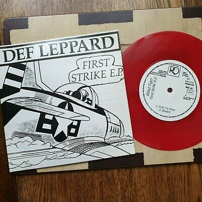 Def Leppard,  First Strike , Red Vinyl, Limited Edition French E.p. • 60£
