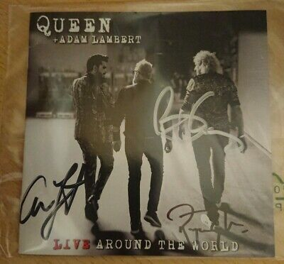 QUEEN & ADAM LAMBERT Live Around The World UK 2020 SIGNED CD + Cassette In Hand • 249£