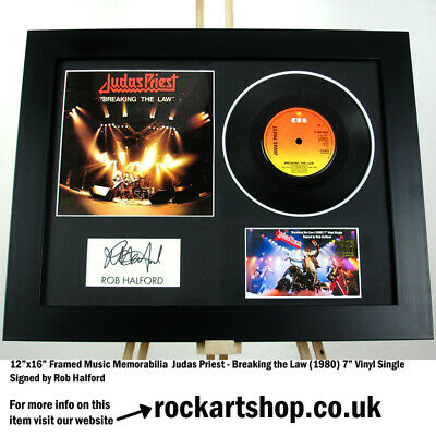 Judas Priest SIGNED ROB HALFORD Breaking The Law Autograph 7  Vinyl Single WORLD • 219.98£