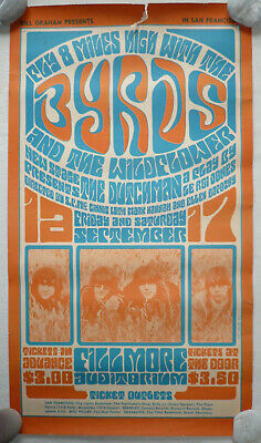 ORIGINAL1966 American Psychedelic Rock Concert Poster The BYRDS • 35£