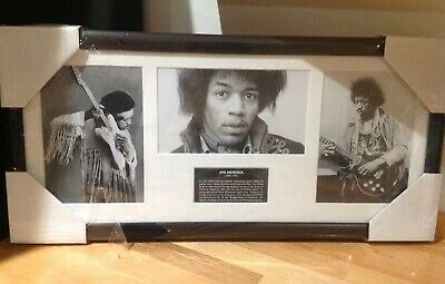 Jimi Hendrix  B&W Montage Prints And Bio Mounted And Framed - 56cm X 26cm - New • 12.50£
