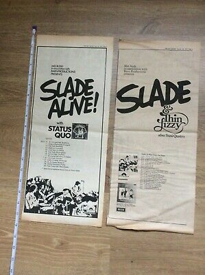 Slade Status Quo Thin Lizzy Concert Dates Music Newspaper Advertisements 1972 • 16.99£
