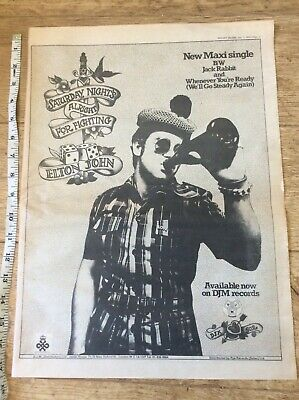 Elton John - Saturday Nights All Right For Fighting - Advertisement/Poster 1973 • 22.99£