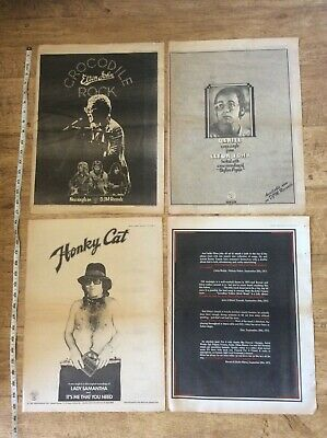 Elton John - 4 Vintage Music Advertisement/Posters Job Lot Bundle 1972/73 • 28.99£