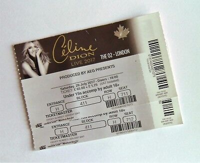 CELINE DION MEMORABILIA - Unused Tickets Stubs The O2 Arena London UK 29/07/17 • 9.99£