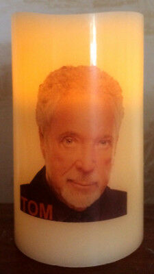 TOM JONES ELECTRONIC FLICKERING WAX CANDLE Flameless BATTERY OPERATED • 12.99£