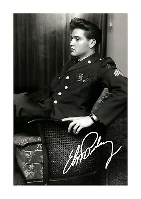 Elvis Presley As A GI A4 Reproduction Signature Picture Poster Choice Of Frame • 27.99£