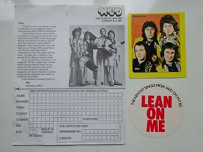 MUD Fan Club Application Form & 2 Band Stickers - Lean On Me & Muziek Expres • 4.49£
