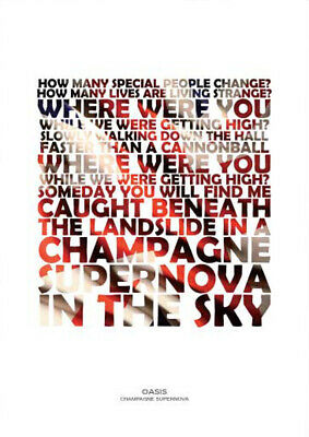 OASIS Champagne Supernova A4 Art Print Poster With Lyrics • 5.99£