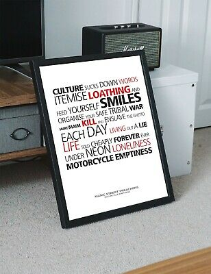 Manic Street Preachers Motorcycle Emptiness A4 Art Print Poster With Lyrics • 5.99£