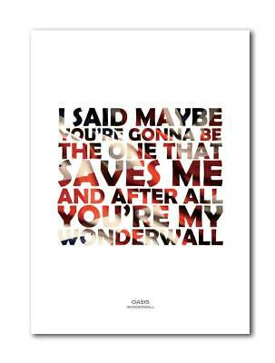 OASIS Wonderwall A4 Art Print Poster With Lyrics • 5.99£