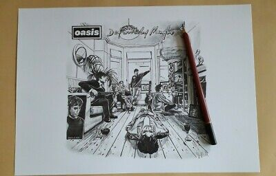 Limited Edition Signed Print Of Oasis Definitely Maybe Album Cover Drawing A4 • 11£