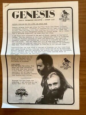 Genesis Information Newsletter Jan 1978 Trespass Lyric Sheet & Merch List. Rare • 22.99£