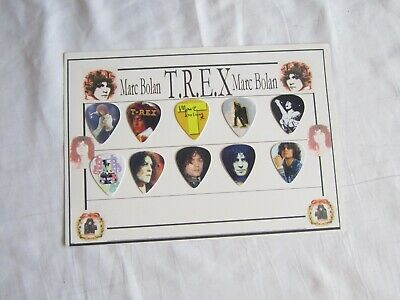 MARC BOLAN / T.REX Plectrum / Pick Set - 10 Picks Mounted On Card • 10£