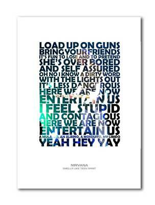 NIRVANA Smells Like Teen Spirit A4 Art Print Poster With Lyrics • 5.99£