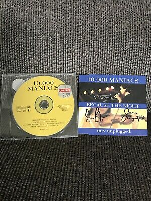 'Because The Night' 10000 Maniacs SIGNED CD Natalie Merchant Dennis Drew Jerry A • 25£
