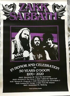 Official Zakk Wylde Zakk Sabbath VIP Tour Dates Poster - RARE! Black Sabbath  • 9.99£