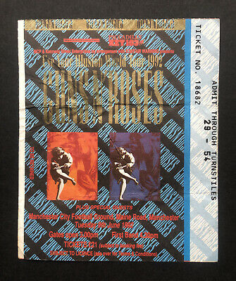 GUNS N ROSES USE YOUR ILLUSION TOUR CONCERT TICKET STUB Manchester 9TH JUNE 1992 • 30£