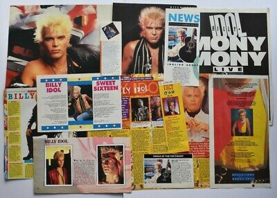 BILLY IDOL (1) CUTTINGS/CLIPPINGS - 12 ITEMS IN TOTAL - FROM 80s ONWARDS MAGS • 3£