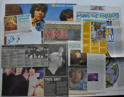 THE STONE ROSES (1) CUTTINGS/CLIPPINGS - 12 ITEMS IN TOTAL - 80s+ONWARDS MAGS • 3£