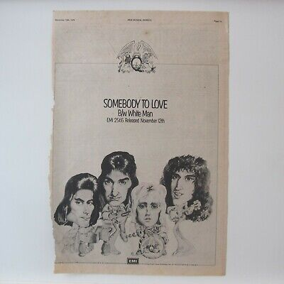 QUEEN - Somebody To Love 1976 Original Full Page A3 Music Magazine Advert Poster • 24.95£