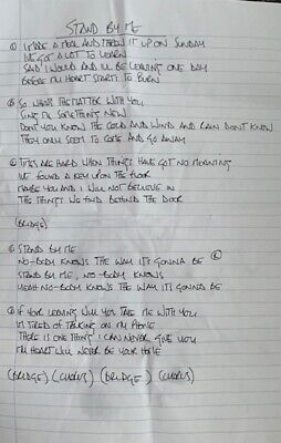 * Oasis - Noel Gallagher Hand Written Lyrics Stand By Me  Rare Promo  • 600£