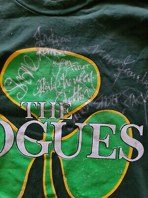 The Pogues Fully Signed T Shirt From 1992 European Tour Large Size. Unique Item. • 199£