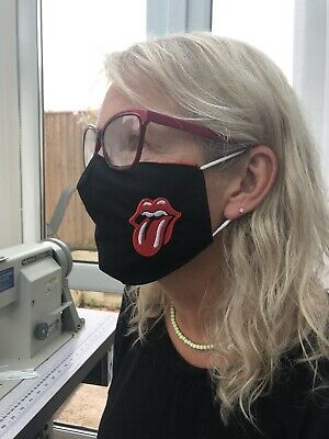 Rolling Stones Logo Face Masks 100% Cotton Double Layer With Opening For Filter. • 10£
