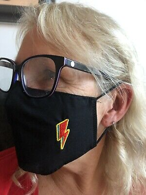 David Bowie Logo Face Masks 100% Cotton Double Layer With Opening For Filter. • 6.99£