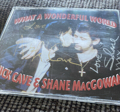 'What A Wonderful World' Nick Cave & Shane MacGowan SIGNED CD • 27£