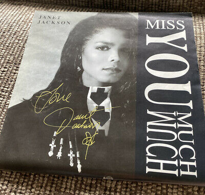 """'Miss You Much' Janet Jackson SIGNED 7"""" • 16£"""