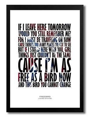 Lynyrd Skynrd Freebird A4 Art Print Poster With Lyrics • 5.99£