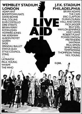 LIVE AID REPRODUCTION POSTER Kitchen Pub Bar Man Cave IDeal Gift Printed NEW • 9.95£