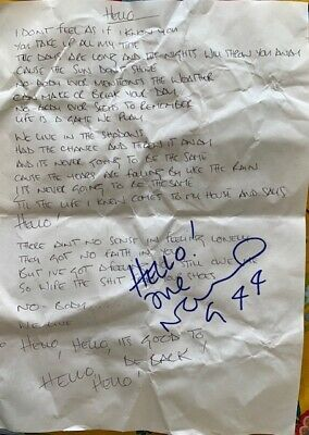 * Oasis - Noel Gallagher Hand Written Lyrics Hello, Signed By Noel ,rare Promo  • 725£