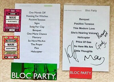 BLOC PARTY- Set List 2005 Brixton 'signed'+ Reading 2009 With Passes + Stickers • 29.99£