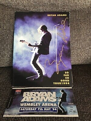 'So Far So Good Tour 1994' Bryan Adams SIGNED Programme + Ticket Stub • 67£
