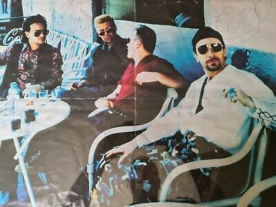 U2 Large Poster Fully Signed By All 4 Members. • 249£