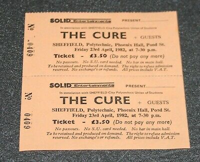 The Cure Original 1982  Sheffield Poly  Punk Concert Ticket • 14.99£