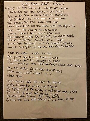 Oasis - D'You Know What I Mean? - Noel Gallagher Hand Written Lyric Sheet - Liam • 399£