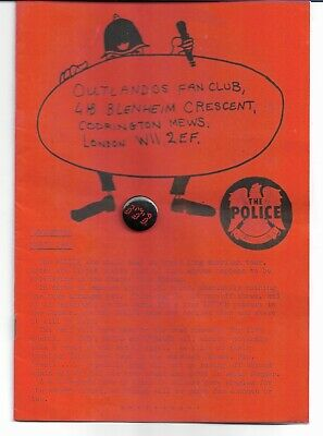 The Police (Sting) - Outlandos Fan Club - Rare March 1982 Fan Club Mag + Badge • 12.99£